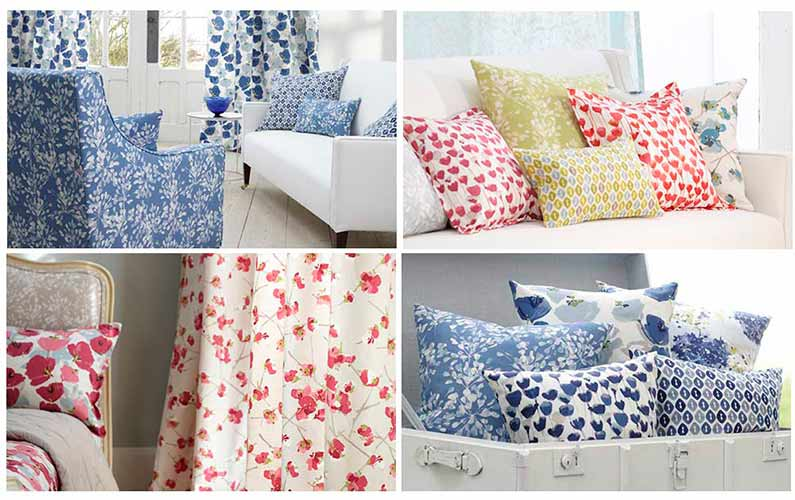 Cortinas estampadas Cuatro fotos con colores y modelos de cortinas y cojines