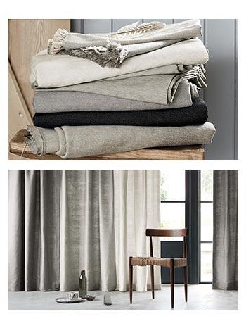 Cortines Llises en dues fotos genero apilat i composició amb cortines