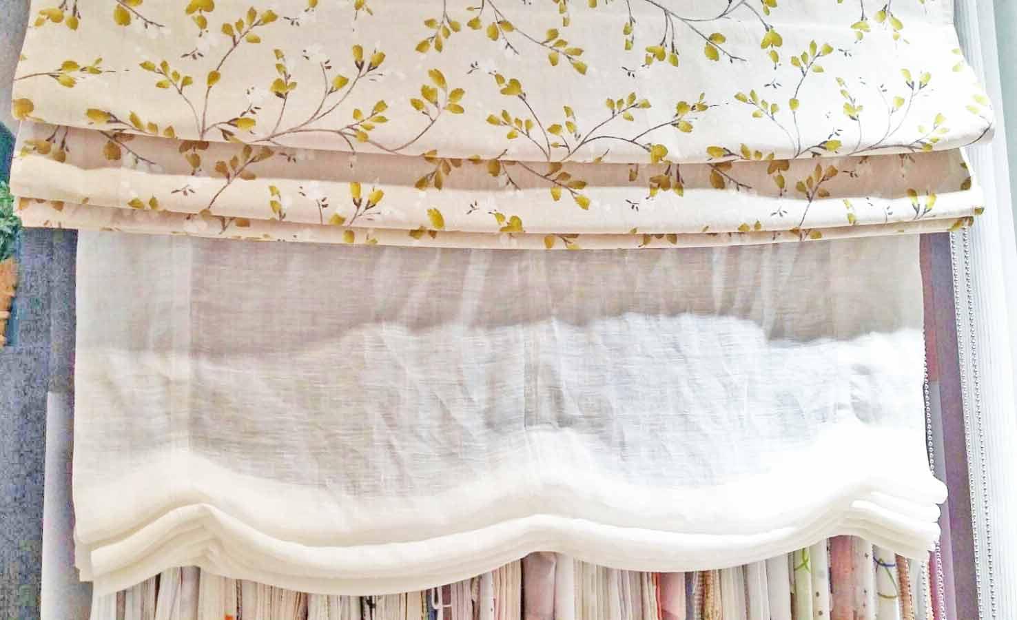 Cortinas y estores Paqueto estampados en exposición telas claras