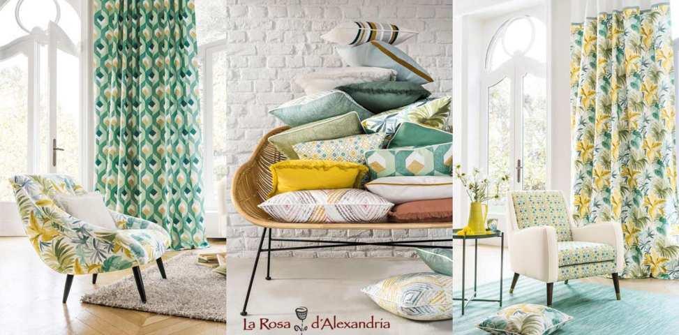 Tres fotos de salons amb cortines i coixins de la nova col·lecció camengo